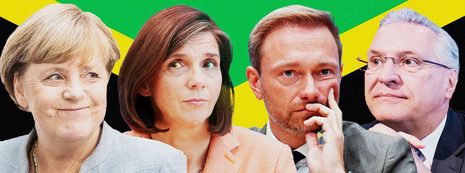 Merkel, Göring-Eckardt, Lindner, Herrmann