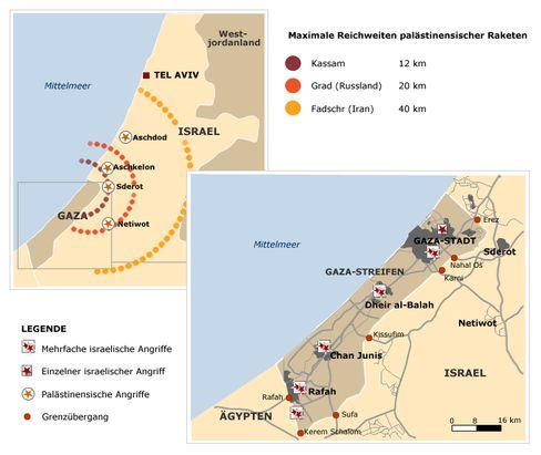 Der Gaza-Streifen, die Raketeneinschläge, die Reichweiten - ein Überblick