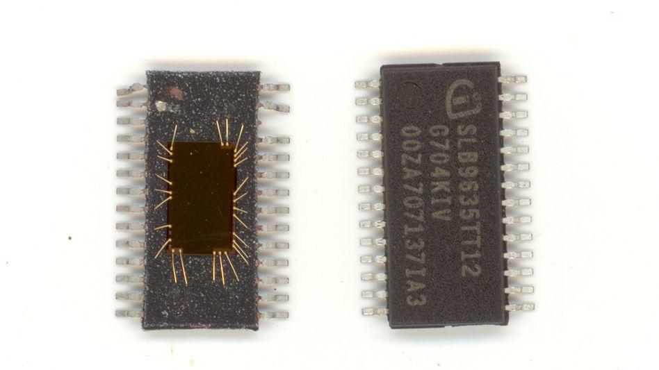 TPM-Chip (links aufgebrochen, rechts in Werkszustand): Solche Kryptochipships stecken in vielen Notebooks und Desktop-Rechnern