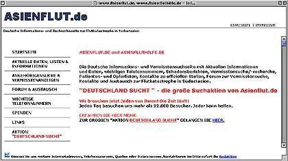 Privatinitiative: Vermissten-Datenbank Asienflut.de