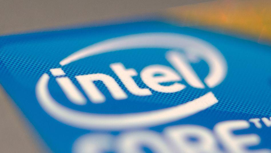 Intel-Logo auf einem Aufkleber