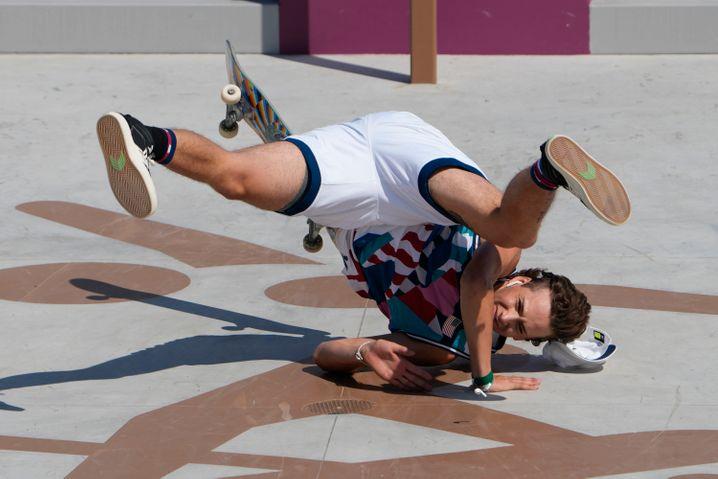 Jagger Eaton beim olympischen Wettkampf im Skateboarden