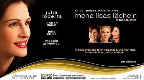 Auf dem Filmplakat zeigt Mona Lisa noch ein grammatisch falsches Lächeln