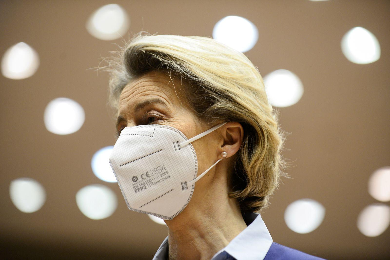 EU Commission President Von Der Leyen debates COVID-19 vaccination strategy in Brussels