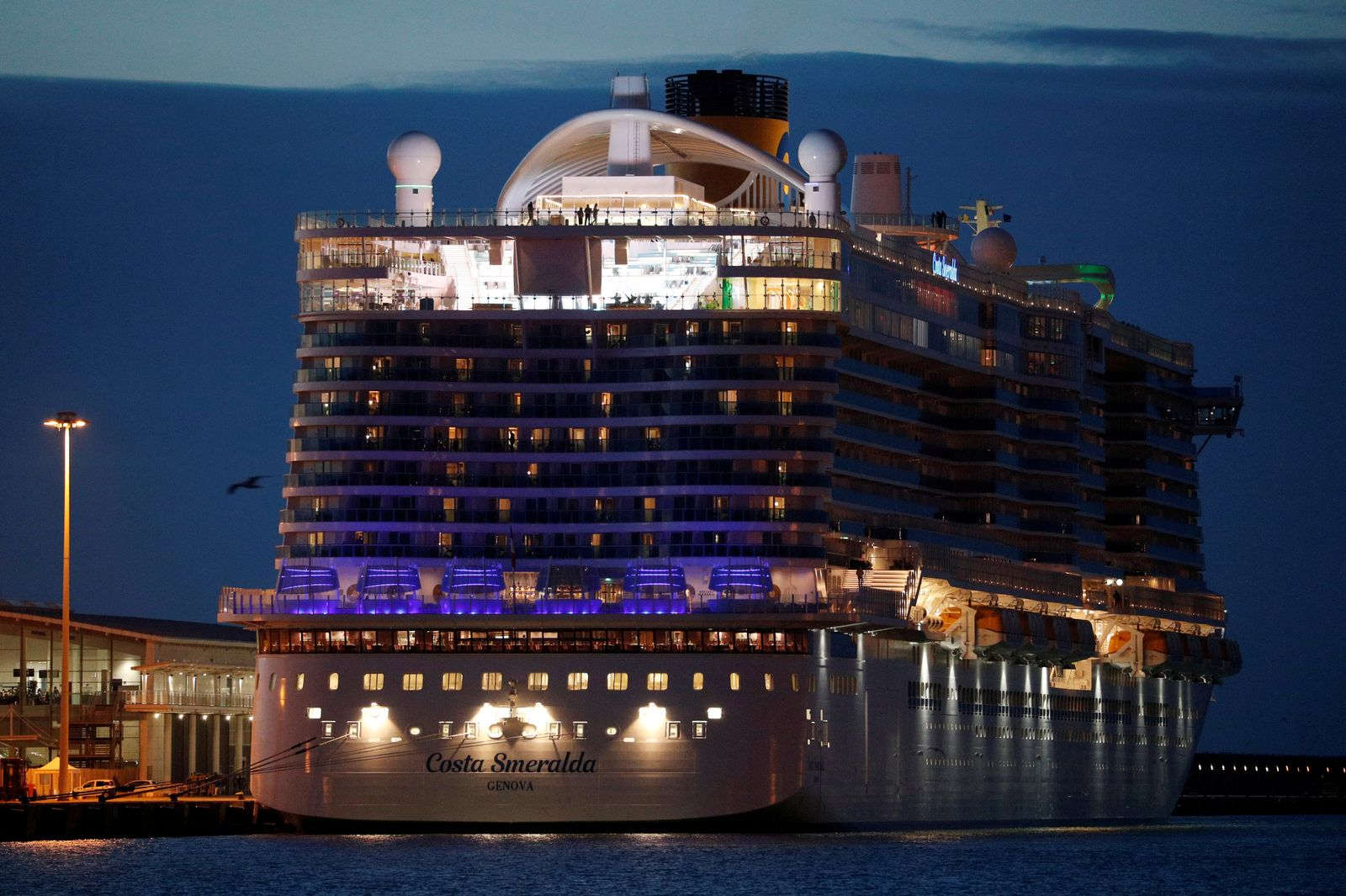 The Costa Smeralda cruise ship is docked at the Italian port of Civitavecchia