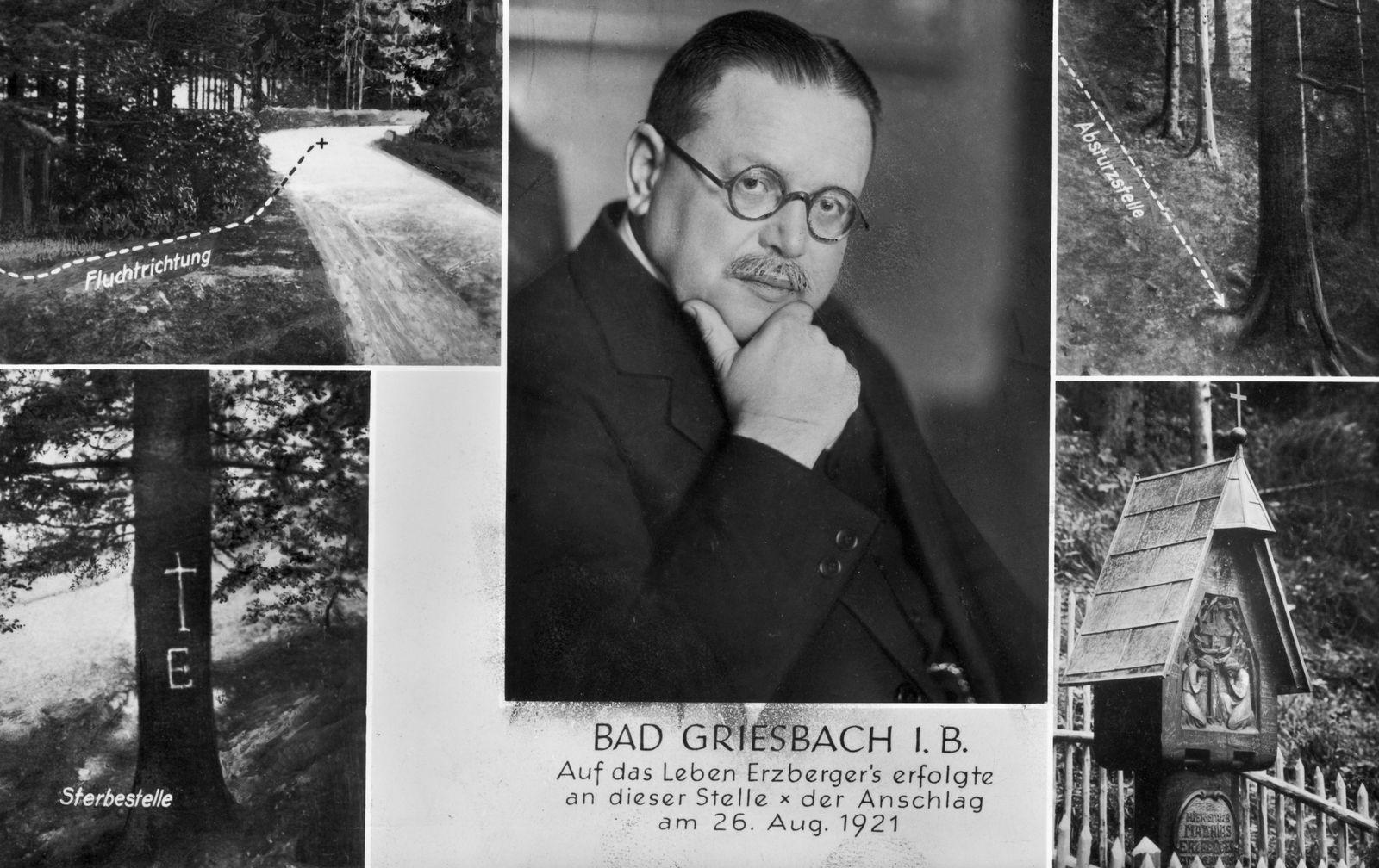 Postkarte mit Motiven des Schauplatzes des Attentats auf Matthias Erzberger am 26. Juni 1921