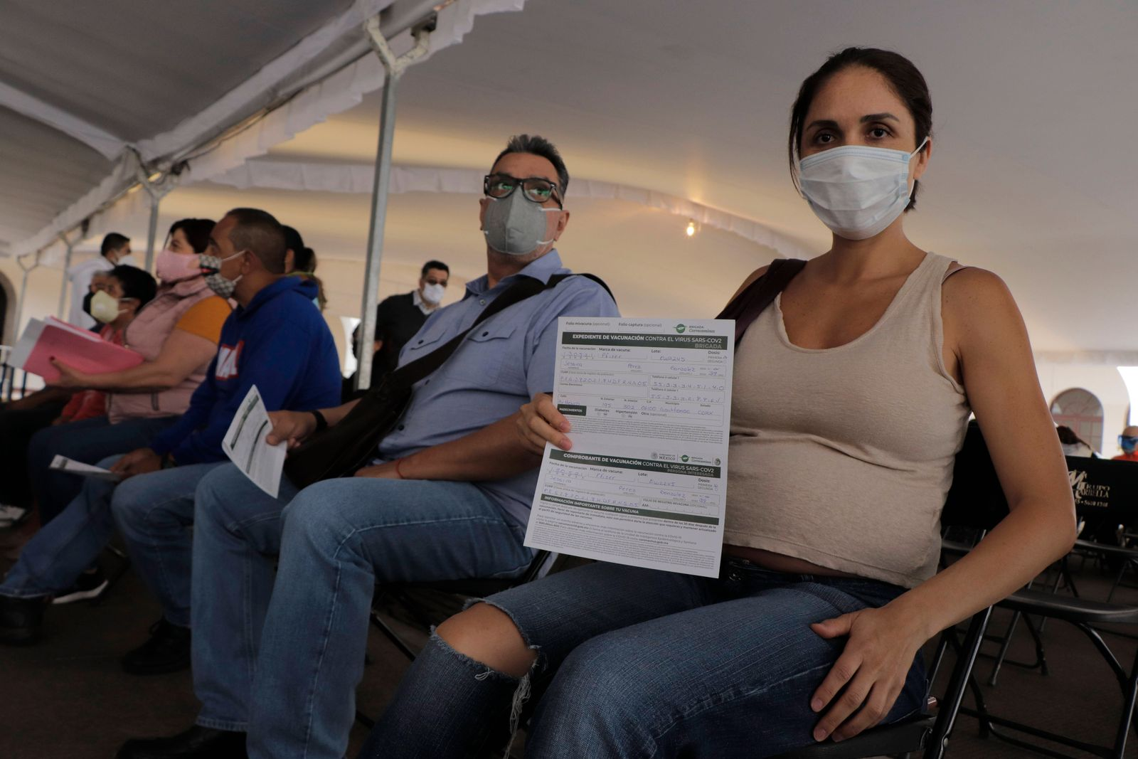 Vaccination Of Pregnant Women Against COVID-19 Begins In Mexico City A pregnant woman inside the facilities of the Beni