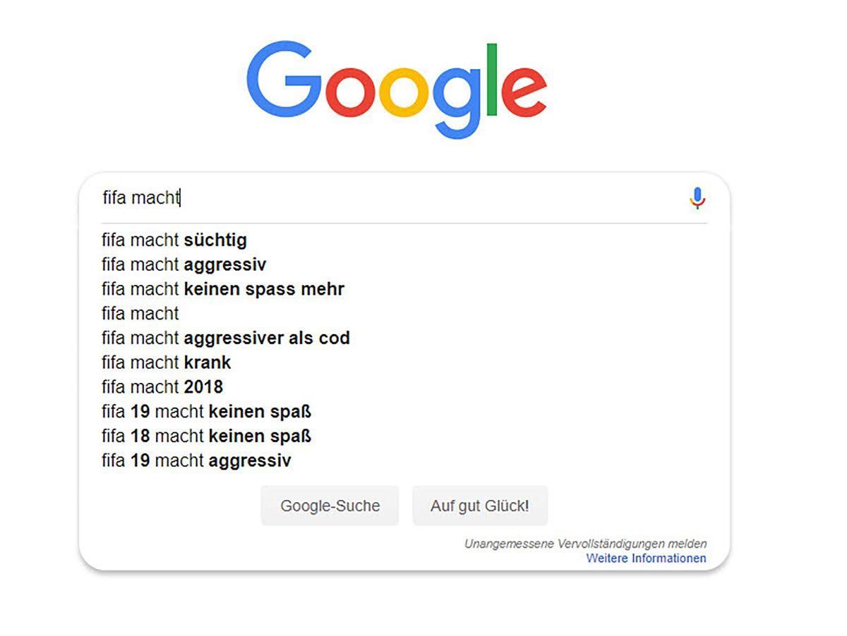 EINMALIGE VERWENDUNG Screenshot/ Fifa/ Google