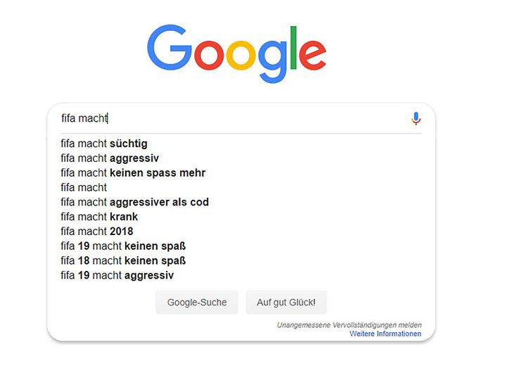 Google-Suchvorschläge (März 2019)