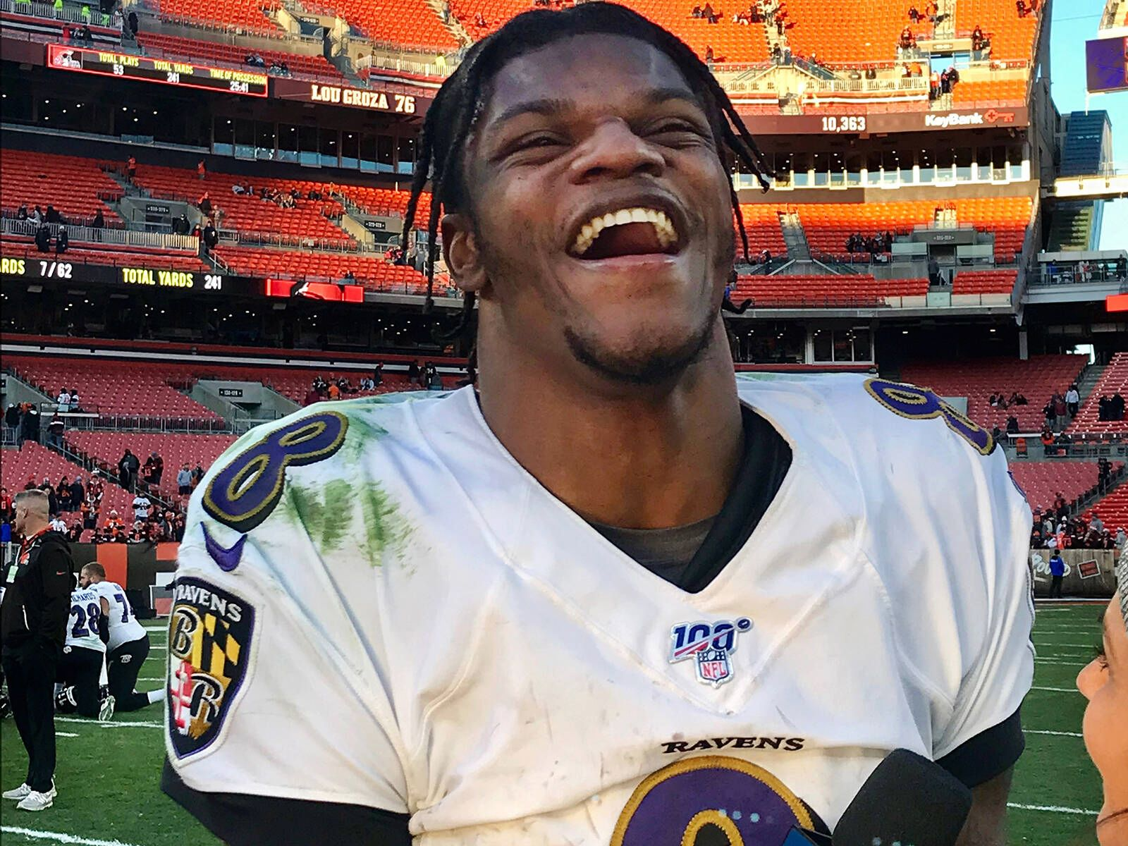 January 30, 2020, USA: Baltimore Ravens quarterback Lamar Jackson reacts while giving a post game network interview foll