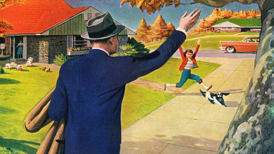 US-Illustration von 1956: Der Vater hat es geschafft, die soziale Leiter hinaufzuklettern