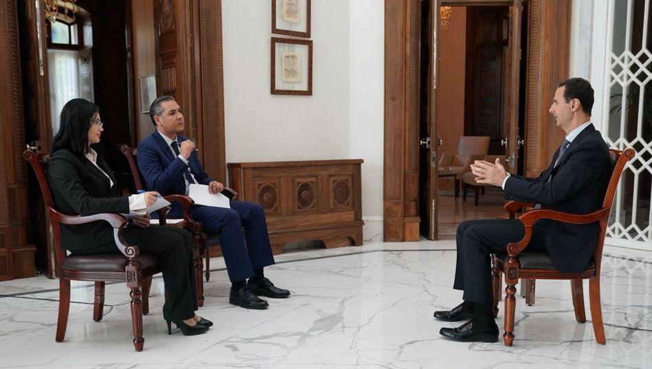 Syriens Machthaber Assad hat sich in einem Interview gegen eine internationale Sicherheitszone ausgesprochen