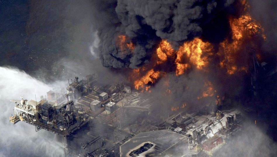 The burning Deepwater Horizon oil platform in the Gulf of Mexico