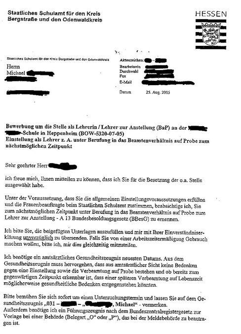 Brief des Schulamtes (vom 25. August): Schon Makulatur