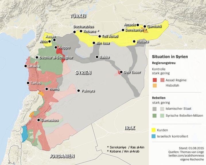 Landkarte: Die aktuelle Situation in Syrien