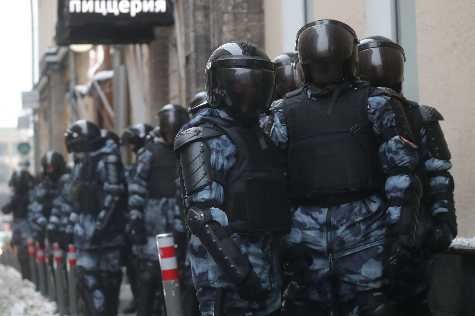 MOSCOW, RUSSIA - JANUARY 23, 2021: Riot police officers during an unauthorized rally in support of Russian opposition a