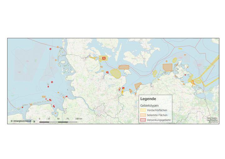 Karten mit Munitionsgebieten in Nord- und Ostsee