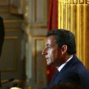 Sarkozy delivers his inauguration speech in Paris on Wednesday.