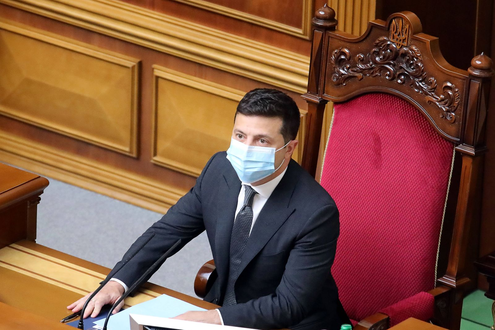 KIEV, UKRAINE - OCTOBER 20, 2020: Ukraine s President Volodymyr Zelensky attends a meeting of the Verkhovna Rada to del
