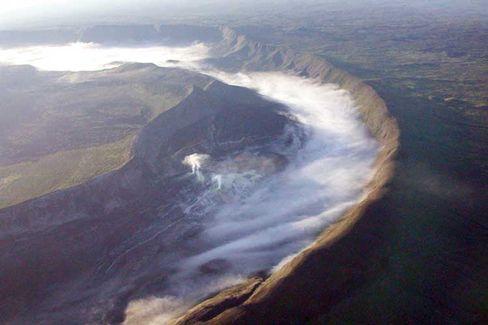 Sierra Negra (Galapagos): Vulkandach als gewaltige Luke zum Druckablass
