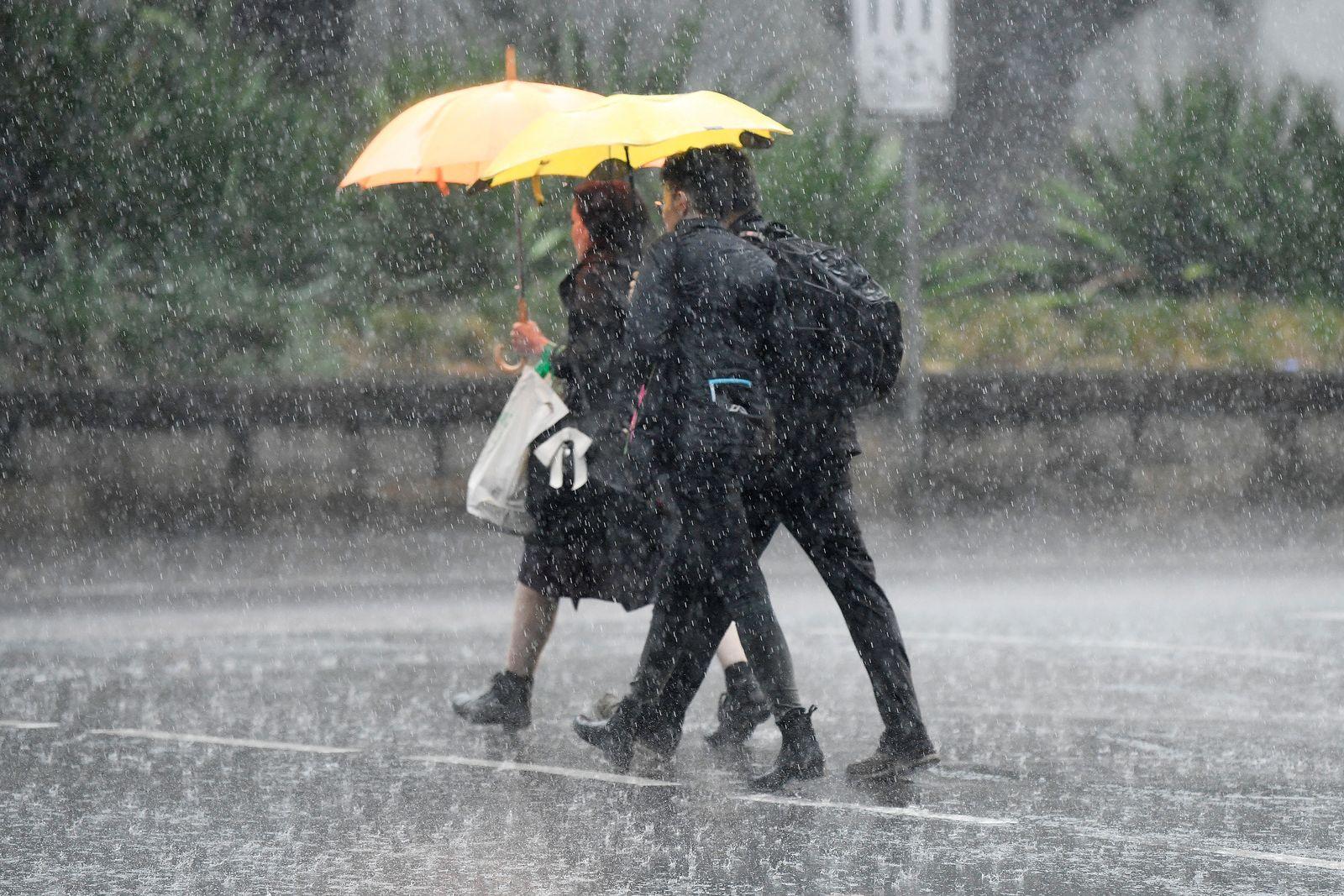 Pedestrians hold umbrellas as they walk in heavy rain in Sydney's CBD