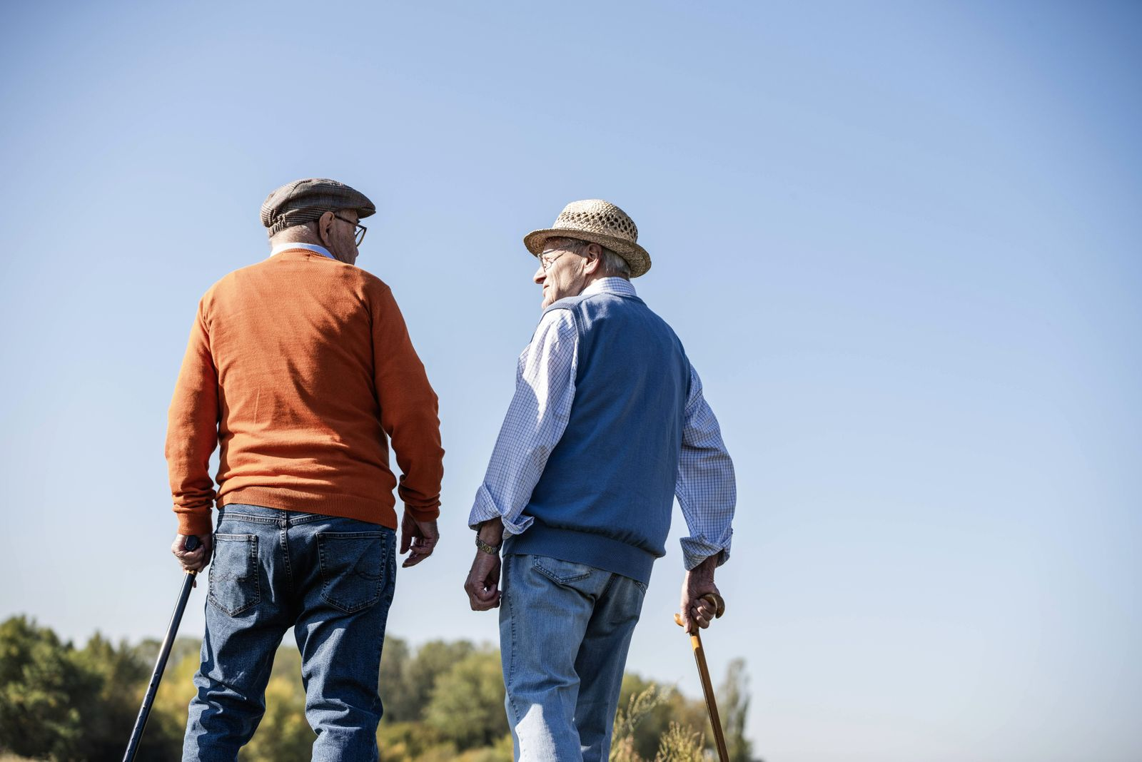 Two old friends taking a stroll through the fields talking about old times model released Symbolfot