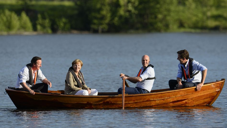Regierungschefs Cameron, Merkel, Reinfeldt, Rutte: Minigipfel in Schweden