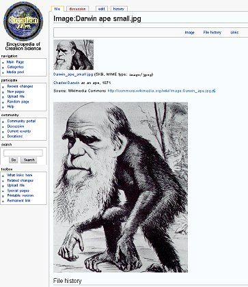 """Darwin-Karikatur aus der """"CreationWiki"""": Bar jeden Erkenntnisgewinns"""