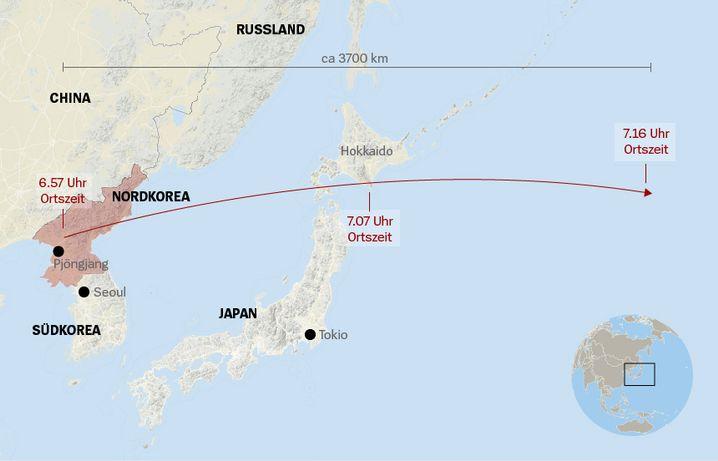 Karte Raketentest 15.9.2017 Nordkorea Japan