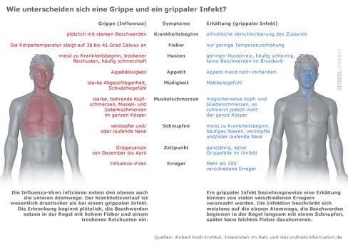 Infografik: Wie man eine einfache Erkältung von der echten Grippe unterscheiden kann