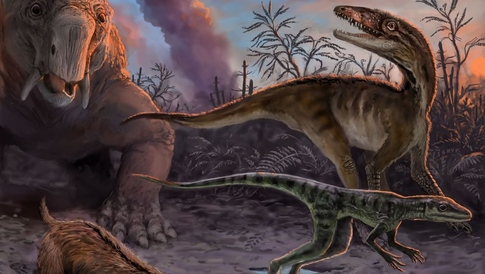 Fauna der Trias: Synapsiden (l.) trafen auf die ersten Dinosauromorpha - aber offenbar deutlich später als bisher gedacht