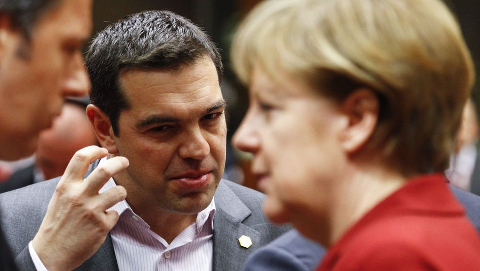 Alexis Tsipras und Angela Merkel: Wäre es nicht fair, wenn die Banken helfen?