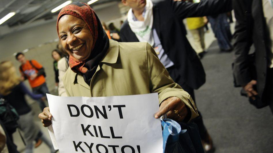 A climate activist in Copenhagen.