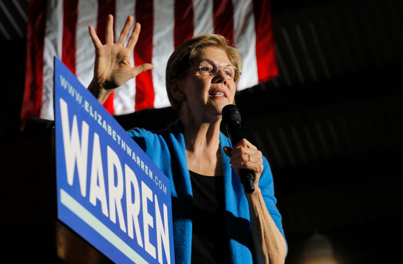 Democratic U.S. presidential candidate Senator Elizabeth Warren speaks at her Super Tuesday night rally in Detroit, Michigan, U.S.