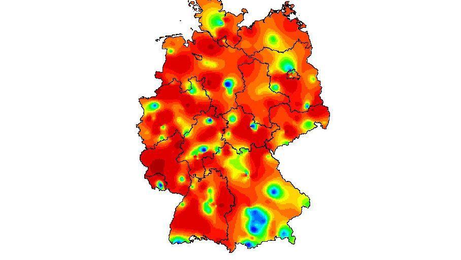 """Grippe, 9. Kalenderwoche (Grün steht für """"geringfügig bis moderat erhöhte Aktivität"""", Orange für """"deutlich"""", Rot für """"stark"""")"""