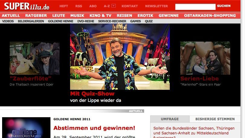 "Screenshot ""Super Illu""-Website: Bislang nicht als Statistik-Magazin aufgefallen"