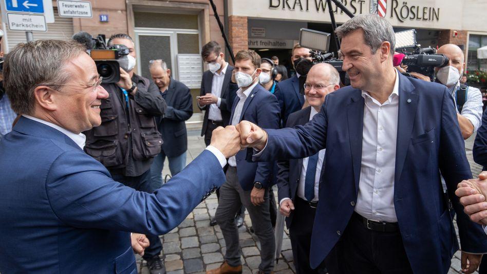 Markus Söder und Armin Laschet üben sich in Einigkeit