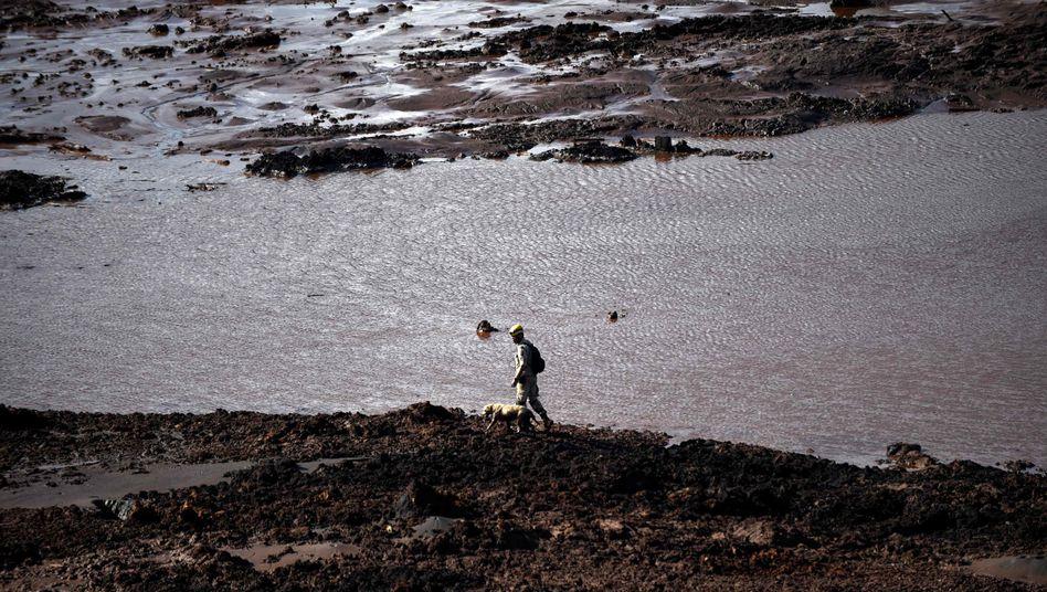 Retter auf der Suche nach Opfern der Dammkatastrophe (Bild vom 29. Januar 2019)