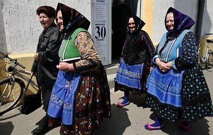 Female voters in the village of Stara Pazova in Serbia
