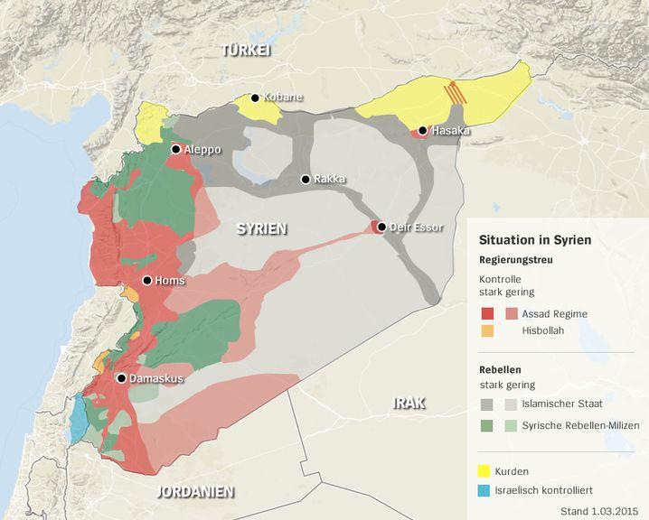 Wer herrscht wo in Syrien? Klicken Sie in die Karte