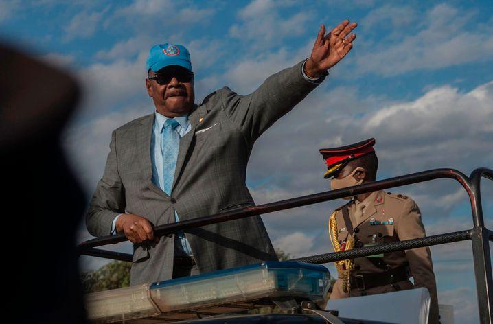 Amtsinhaber Arthur Peter Mutharika bei einem Wahlkampfauftriff am 17. Juni