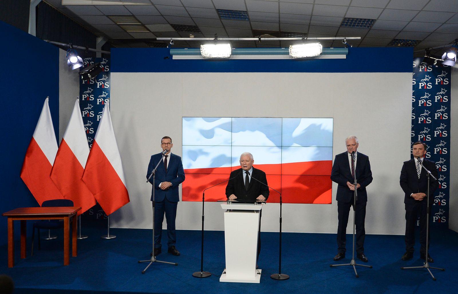 Jaroslaw Kaczynski, Mateusz Morawiecki, Jaroslw Gowin, Zbigniew Ziobro