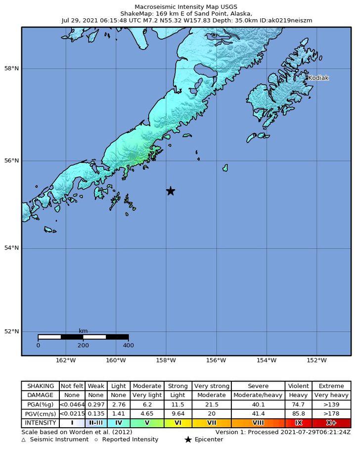 Ort des Bebens vor Alaska: Der schwarze Stern markiert das Epizentrum