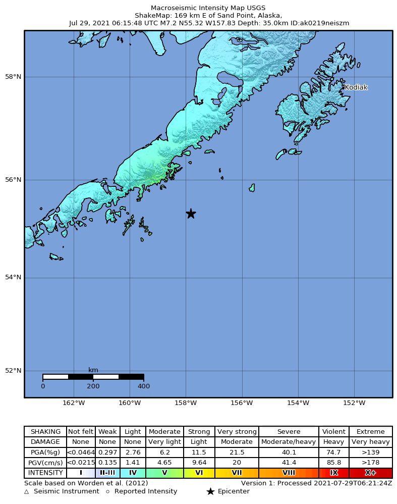 8.2 magnitude earthquake off Alaska
