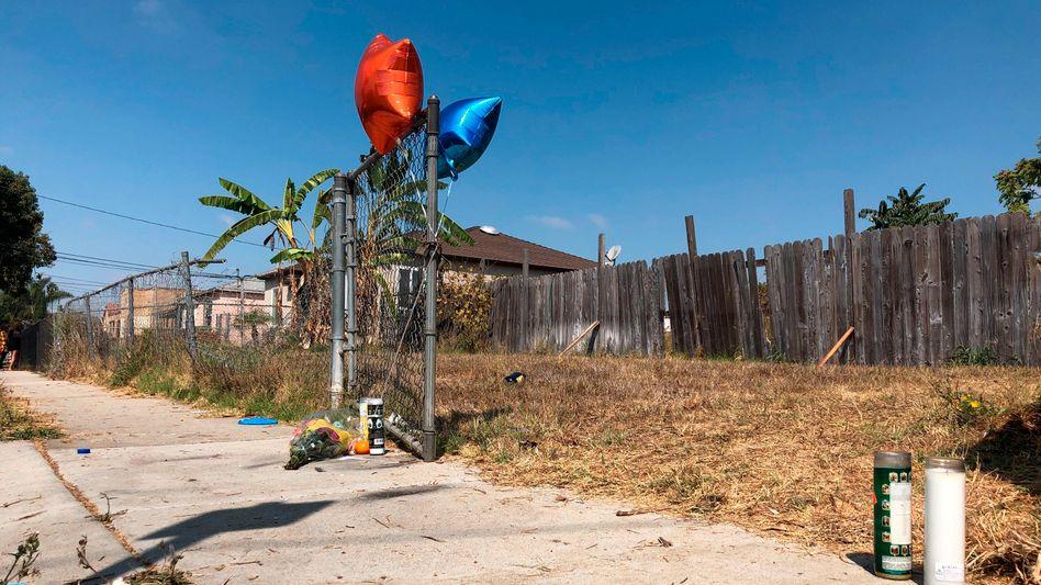 Gedenkstätte für den erschossenen Fahrradfahrer in Los Angeles