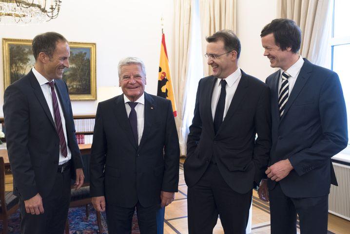 Bundespräsident Gauck, SPIEGEL-ONLINE-Redakteure Harms, Nelles, Gathmann