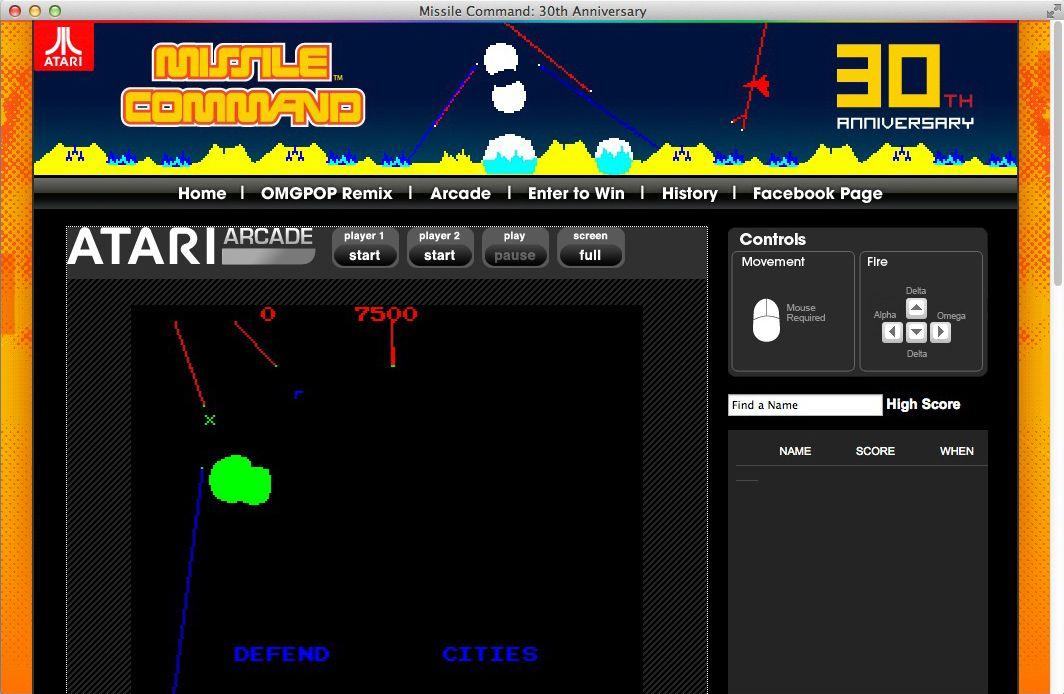 NUR ALS ZITAT Screenshot Missile Command