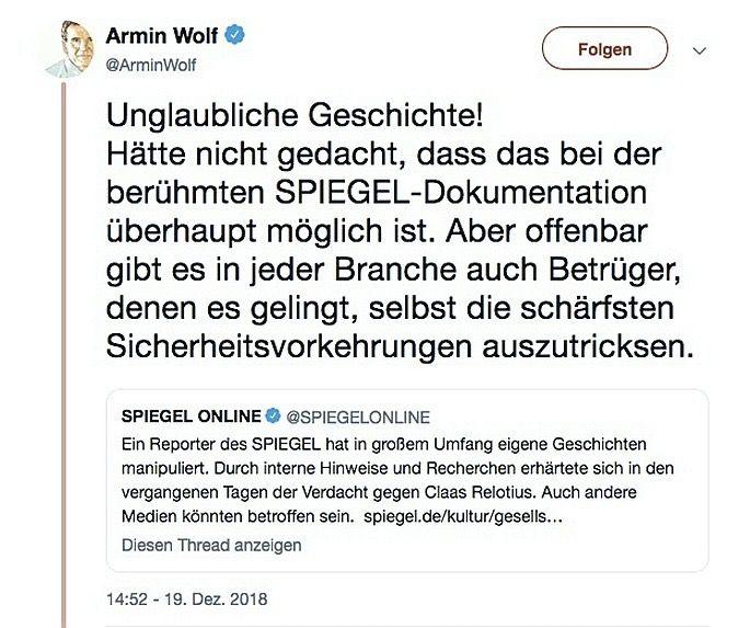 SPIEGEL 52/2018 Relotius / Twitter Armin Wolf