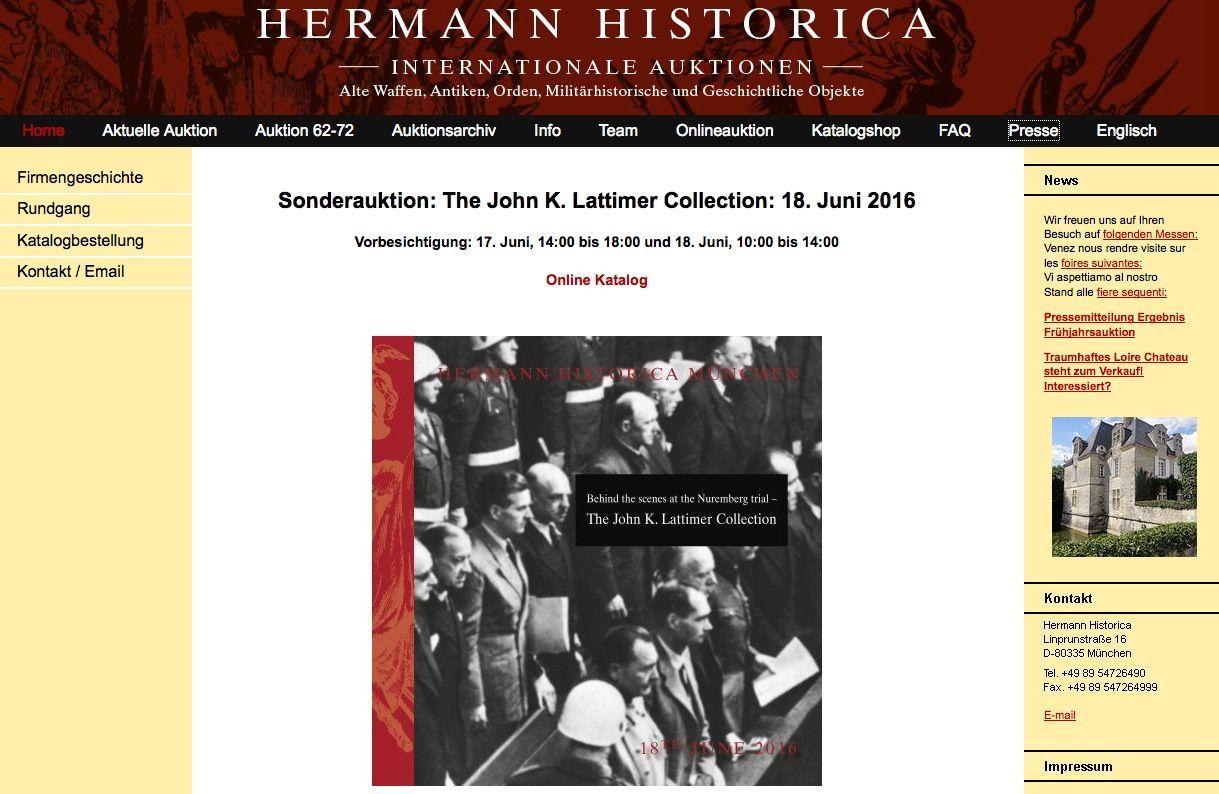 EINMALIGE VERWENDUNG auktionshaus hermann historica Screenshot