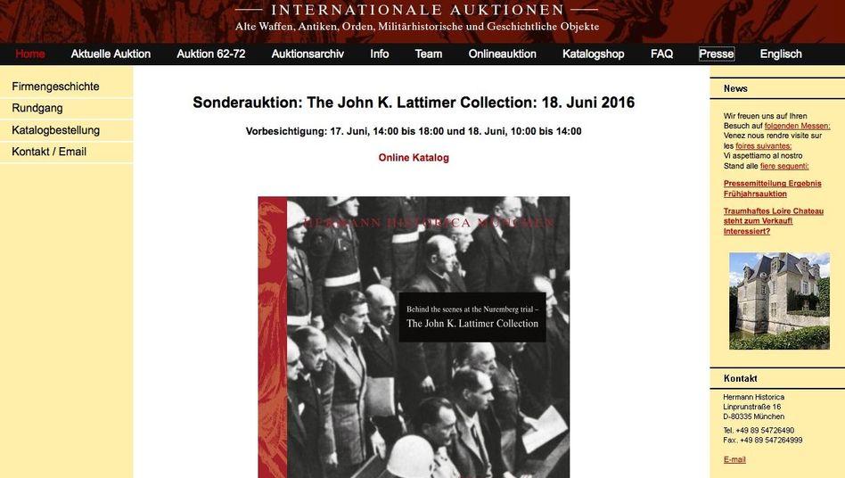 Internetseite des Auktionshauses Hermann Historica